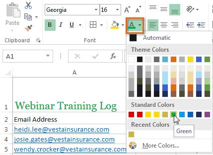 Format font color choose